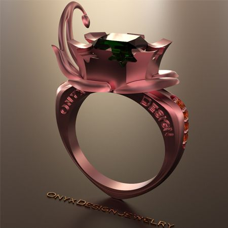 Pink gold sphene and emerald ring