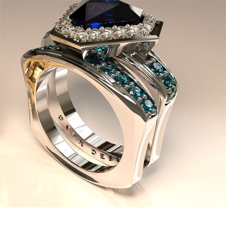 Sapphire and aquamarine white gold ring and band