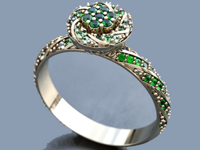 Emerald ring rendered on Vray
