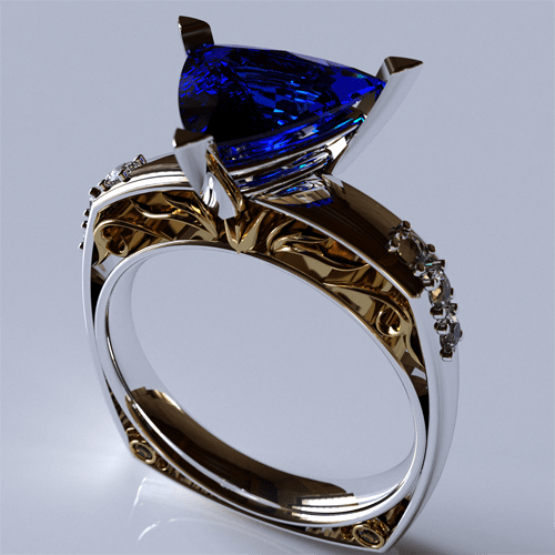 Victorian design ornamental gold ring with diamonds