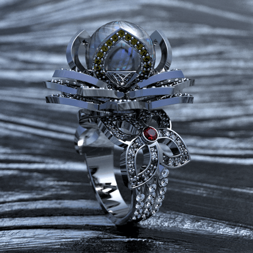 Modern pearl ring design with diamonds, ruby, aquamarine, spinel and citrine gemstones